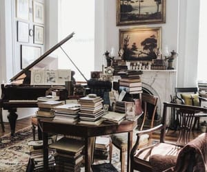 book, piano, and home image