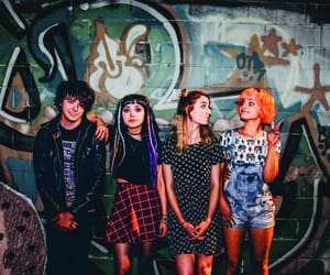 dyed hair, hey violet, and graffiti image