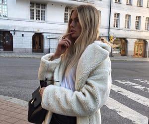 fashion, blonde, and coat image