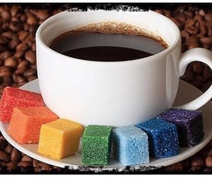 color, rainbow, and coffee image
