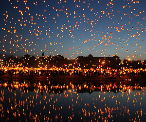 baloons, fire, and lanterns image