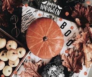 Halloween, leaves, and pumpkin image