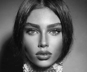 beauty, black and white, and face image