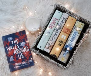 book, lights, and autumn image