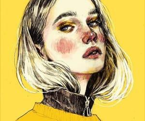 art, girl, and yellow image