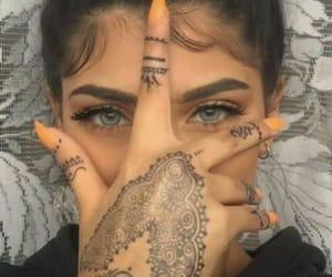 girl, eyes, and henna image