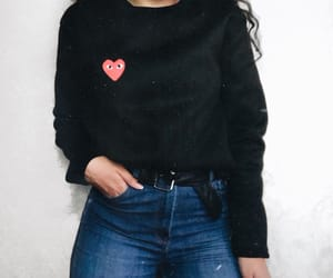 black sweater, comme des garcons, and fashion image