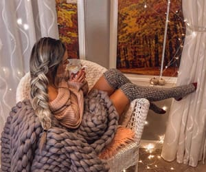 autumn, girl, and blanket image