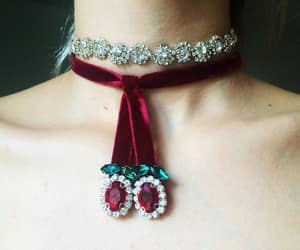cherry, choker, and diamond image