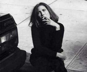 smoke, black and white, and Christy Turlington image
