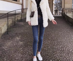 fashion, fur coat, and sneaker image