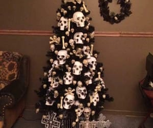 christmas, light, and skull image