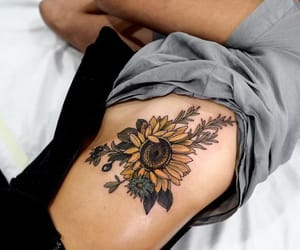 tattoo, sunflower, and flowers image