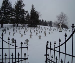 snow, cemetery, and creepy image