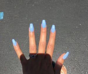 nails, blue, and acrylic nails image