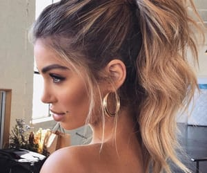earrings, hair, and make-up image