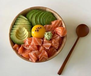 food, avocado, and salmon image