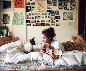 girl, cat, and guitar image
