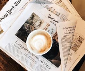 coffee, newspaper, and inspiration image