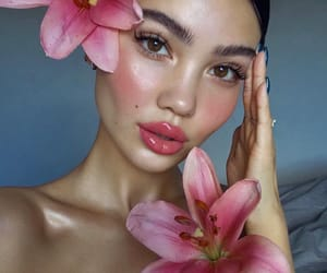 flowers, girl, and makeup image
