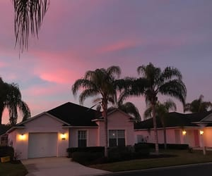 house, pink, and sky image