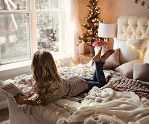 christmas, bedroom, and book image