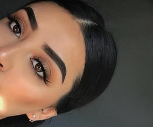 brown eyes, eyebrows, and make up image