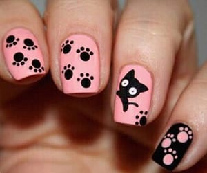 nails, cat, and pink image