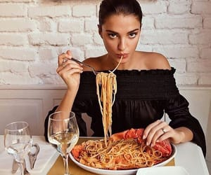 food, girl, and pasta image