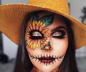 Halloween, makeup, and sunflower image