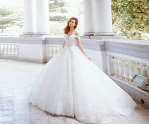 etsy, off-the-shoulder, and lace wedding dress image