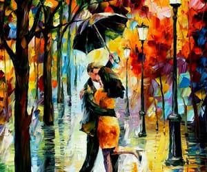 art, painting, and rain image