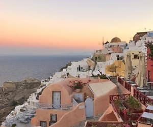 Greece, sunset, and ocean image