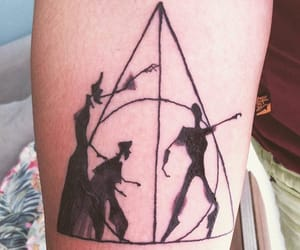 death, invisibility cloak, and deathly hallows image