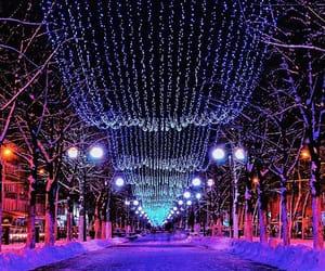 christmas lights, lamp posts, and moscow image