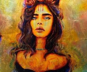 aquarel, art, and brownhair image