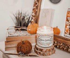 candle, fall, and pumpkin image