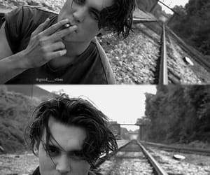 johnny depp, black and white, and smoke image