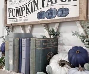 blue, books, and pumpkin image