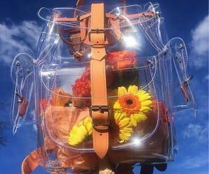 backpack, flowers, and bluesunshine image