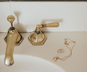bathroom, gold, and decor image