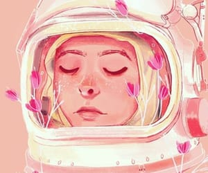 astronauta, background, and flowers image