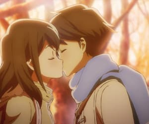 anime, couple, and kiss image