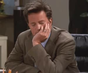 chandler bing, funny moments, and falling asleep image