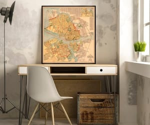 etsy, vintage map, and restored map image