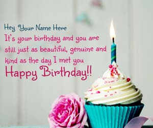 rose name birthday and cupcake with rose image