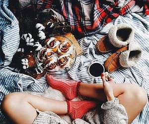 blanket, coffee, and cozy image