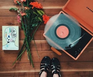 flowers, music, and red image