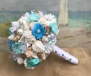 bouquet, seashell, and wedding image