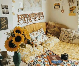 bedroom, yellow, and home image